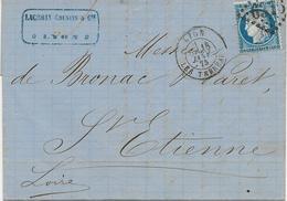 LETTRE AFFRANCHIE N° 60 OBLITEREE LOSANGE GROS CHIFFRES -6316-LYON LES TERREAUX 1875 - Postmark Collection (Covers)