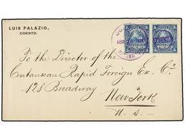 NICARAGUA. Sc.15 (2). 1888. CORINTO A NEW YORK. 5 Cts. Azul (2), Mat. Duplex De Corinto, Al Dorso Llegada, Falta La Sola - Stamps