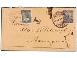 NICARAGUA. Sc.54. 1898. GRANADA A MANAGUA. Entero Postal De 5 Ctvos. Azul Tasado A La Llegada Con Sello De 10 Cts. Gris. - Stamps
