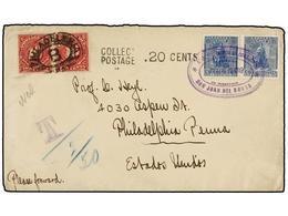 NICARAGUA. Sc.113 (2). 1899. S. JUAN DEL NORTE A U.S.A. 5 Cts. Azul (2), Tasada A La Llegada Con Dos Sellos USA De 10 Ct - Stamps