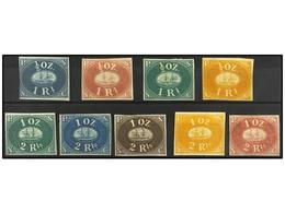 (*) PERU. Yv.1a, B, D, E, 2a, C, D, E, F. NO EMITIDOS. Juego Completo Con El Papel Normal, 1 Real En Cuatro Colores Y 2  - Unclassified