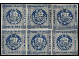 (*) PERU. Sc.9. 1860. 1 Dinero Azul. Bloque De Seis, Márgenes Completos Alrededor Del Sello, Leve Doblez Horizontal En L - Unclassified
