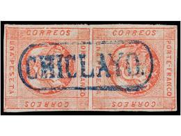 ° PERU. Sc.10 (2). 1860. 1 Peseta Rojo, Pareja, Mat. Lineal CHICLAYO En Azul. MUY BONITA. - Unclassified