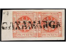 PERU. Sc.10 (2). 1860. 1 Peseta Rojo En Pareja Sobre Pequeño Fragmento, Mat. Lineal CAXAMARCA. MUY BONITO. - Unclassified