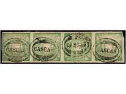 ° PERU. Sc.14 (4). 1868. 1 Dinero Verde, Tira De Cuatro, Mat. CASCAS, Algún Mínimo Defecto. Excelente Aspecto. - Unclassified