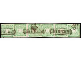 PERU. Sc.14 (6). 1868. 1 Dinero Verde, Seis Sellos Sobre Pequeño Fragmento, Mat. CERTIFICACION. ESPECTACULAR Y De GRAN B - Unclassified