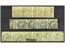 ° PERU. Sc.14. 1 Dinero Verde. Tira De Cuatro, Mat. PASCO/T, Tira De Cuatro Color Verde Oscuro, Mat. PASCO/T Y Tira De S - Unclassified