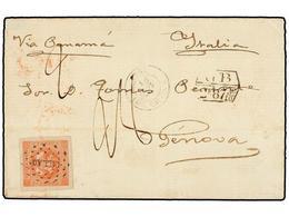 PERU. Sc.4. 1858. LIMA A GÉNOVA (Italia). Envuelta (sin Las Solapas Laterales), Franqueada Con Sello De 1 Peseta Rojo, M - Unclassified