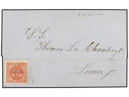 PERU. Sc.8. 1858 (6 Diciembre). AREQUIPA A LIMA. 1 Peseta Rosa Oscuro. Mat. De Puntos AREQ. En Azul. MUY RARA Tonalidad  - Unclassified