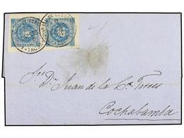 PERU. Sc.3 (2). 1858. TACNA A COCHABAMBA. 1 Dinero Azul, Pareja, Plancha Gastada, Mat. FECHADOR De TACNA. Márgenes Excep - Unclassified