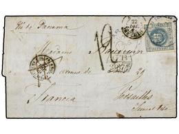 PERU. 1859. TACNA A FRANCIA. 1 Dinero Azul Por El Pago Del Porte Local, Fechador De La B.P.O. ARICA Y Marca De Intercamb - Unclassified