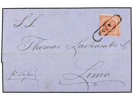 PERU. Yv.7. 1860 (21 Sept.). HUACHO A LIMA. 1 Peseta Rojo. Mat. Lineal VAPOR. RARA. - Unclassified