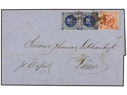 PERU. 1860 (3 Sept.). ISLAY A LIMA. 1 Dinero Azul Pareja Y 1 Peseta Rojo. Mat. ÓVALO DE PUNTOS Y Manuscrito 'por Vapor'. - Unclassified