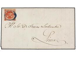 PERU. Yv.7a. 1860 (11 Marzo). CUZCO A LIMA. 1 Peseta Rojo, Mat. Ovalado CUZCO En Azul. - Unclassified
