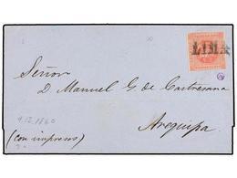 PERU. Sc.10. 1860. LIMA A AREQUIPA. 1 Peseta Rojo, Mat. Lineal LIMA. - Unclassified