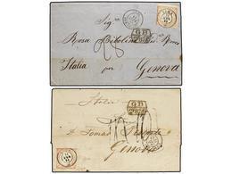 PERU. Sc.12 (2). 1865. Dos Cartas Circuladas De LIMA A GENOVA Circuladas El Mismo Día A Dos Direcciones Distintas Con Se - Unclassified