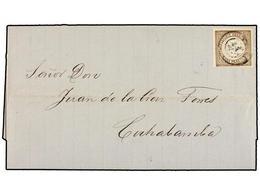 PERU. Sc.13. 1866. TACNA A COCHABAMBA.1 Peseta Castaño, Mat. FECHADOR De TACNA. Raro Sello En Carta. - Unclassified