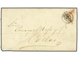 PERU. Sc.12c. 1866. LIMA A CALLAO. 1 Dinero Rosa Bisectado (parte Superior Izquierda Del Sello) Mat. FECHADOR Lima. - Unclassified