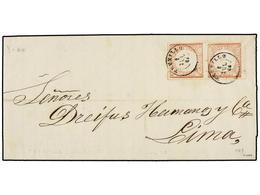 PERU. Sc.12 (2). 1866. TRUXILLO A LIMA. 1 Dinero Rosa, Pareja, Mat. Fechador TRUXILLO. MUY BONITA. - Unclassified