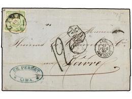 PERU. Sc.14. 1869. LIMA A FRANCIA. 1 Dinero Verde, Circulada Vía Inglaterra, Marca De Intercambio GB/1 F 90 C. Y Tasa De - Unclassified