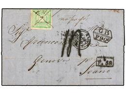 PERU. 1869. GUAÑAPE A LOANO (Italia). Carta Completa Con Sello De 1 Dinero Verde, Manuscrito M.Y? De GUAÑAPE Y Al Lado ' - Unclassified