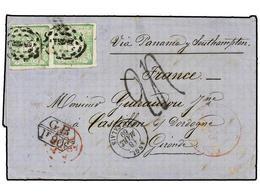 PERU. 1869. TACNA A FRANCIA.1 Dinero Verde (2), Marca De Intercambio GB/1F 90c., Tasada A La Llegada Con '24' Decimas. - Unclassified