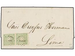 PERU. Sc.14 (2). 1870. PISCO A LIMA. 1 Dinero Verde, Pareja, Mat. óvalo De Puntos PISCO. MUY BONITA. - Unclassified