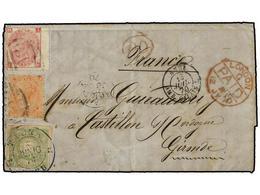 PERU. 1870 (7 Junio). TACNA A FRANCIA. Carta Completa Con Texto Franqueada Con Sello De Perú De 1 Dinero Verde Matasella - Unclassified