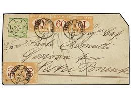 PERU. 1871. LIMA A ITALIA. 1 Dinero Verde, Tasada A La Llegada Con 2 Liras 30 Cts. Pagados Con Sellos De 10 Cts., 50 Cts - Unclassified