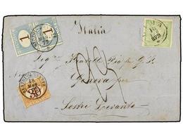 PERU. 1872. LIMA A GENOVA. 1 Dinero Verde, Tasada A La Llegada Con Sellos Italianos De 30 Cts. Y 1 Lira (2). - Unclassified