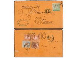 PERU. 1872. ARICA A GÉNOVA. Circulada Con Sello De 1 Dinero Verde. Mat. Ovalado PACIFIC STEAM NAVIGATION COMPANY/STEAM S - Unclassified