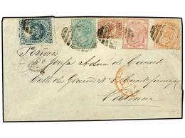 PERU. 1874. CALLAO A VALENCIA (España). Circulada Con Sello De Perú De 10 Cts. Verde Y Sellos Británicos De 1/2 P. Rojo, - Unclassified