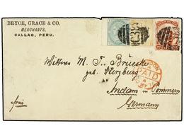 PERU. 1876. CALLAO A ALEMANIA. 10 Cts. Naranja De Perú Y Sellos De GB De 9 P. Bistre, Pl. 4 Y 1 Sh. Verde, Pl. 11 Mat. B - Unclassified