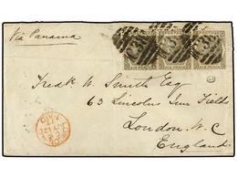 PERU. 1877. CALLAO A LONDRES. Circulada Con Una Tira De Tres Del Sello Británico De 6 P. Mat. C38 De La B.P.O. En Callao - Unclassified