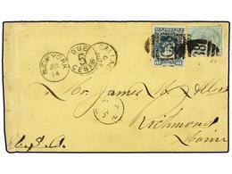 PERU. 1878. CALLAO A RICHMOND (Usa). Circulada Con Sello De Perú De 10 Cts. Verde Y Sello Británico De 1 Sh. Verde, Pl.  - Unclassified