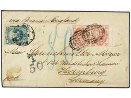 PERU. 1879. CALLAO A HAMBURG. Circulada Con Sello De Perú De 10 Ctvos. Verde Y Sellos Británicos De 3 P. Rosa Pl. 18,mat - Unclassified