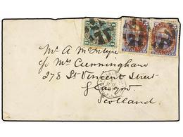 PERU. Yv.32, 34(2). 1881. Circulada A GB. 1 Cto. Verde Y 5 Cts.  Azul (2), Habilitadas U.P.U./LIMA Mat. CRUZ DE CORCHO Y - Unclassified