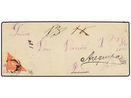 PERU. 1883. GUERRA DEL PACÍFICO. AREQUIPA A PUNO. 10 Cts. Rojo Bisectado Y Reexpedida A AREQUIPA. Al Dorso Fechador De P - Unclassified