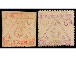 FILIPINAS. INSURRECTOS. PROVISIONALES DE BOHOL. Sellos De 2 Pesos Violeta DENTADO Y 2 Pesos Rojo SIN DENTAR. Primera Emi - Briefmarken