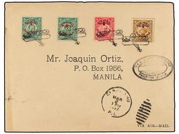 FILIPINAS. 1927 (2 Marzo). AIR MAIL. CEBU A MANILA. 2 Ctvos. (2), 4 Ctvos. Y 6 Ctvos. Vuelo Especial, Marca Ovalada VIA  - Briefmarken