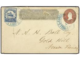 ESTADOS UNIDOS. (1862 CA.). WELLS FARGO. 3 Cents Stationery Roughly Opened On Top And Repaired, With Adtl. Pony Express  - Stamps