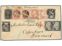 ESTADOS UNIDOS. Sc.73 (4), 65 (4), 69. 1867. NEW ORLEANS To COPENHAGEN (Denmark). Envelope Franked By Four 2 Cts. Black, - Stamps