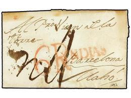 URUGUAY. 1787 (14 Enero). MONTEVIDEO A MAHON (Islas Baleares). Carta Completa, Marca YNDIAS Y Tasa De 6 R. Estampadas En - Unclassified