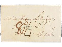 URUGUAY. 1841. MONTEVIDEO A CALELLA (Barcelona). Marca YNDIAS En Azul Estampado A La Llegada A Barcelona Porte De '8 Rea - Unclassified