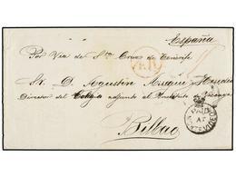 URUGUAY. 1857. MONTEVIDEO A BILBAO (España). Marca PAID/AT/MONTEVIDEO. Circulada Vía Santa Cruz De Tenerife (Islas Canar - Unclassified
