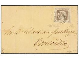 URUGUAY. Sc.7. 1859. MONTEVIDEO A CONCORDIA. 60 Cts. Gris Lila, Mat. Ovalado De MONTEVIDEO. Muy Bonita. - Unclassified