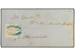 URUGUAY. Yv.12A. 1860. CERRO LARGO A MONTEVIDEO. 60 Cts. Gris, Impresión Fina. Matasellos ADMON. CORREOS/CERRO-LARGO En  - Unclassified