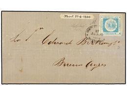 URUGUAY. Sc.10. 1860. MONTEVIDEO A BUENOS AIRES. 120 Cts. Azul, Mat. Ovalado De MONTEVIDEO. Muy Bonita. - Unclassified
