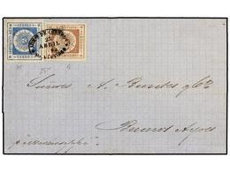 URUGUAY. Sc.13, 16. 1802. MONTEVIDEO A BUENOS AIRES. 60 Cts. Castaño Lila Y 120 Cts. Azul. Magnífico Franqueo De Doble P - Unclassified