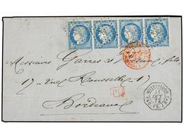 URUGUAY. 1872. MONTEVIDEO A FRANCIA. Circulada Con Sellos Franceses De 25 Cts. Azul (4), Mat. ANCLA Y Fechador MONTEVIDE - Unclassified